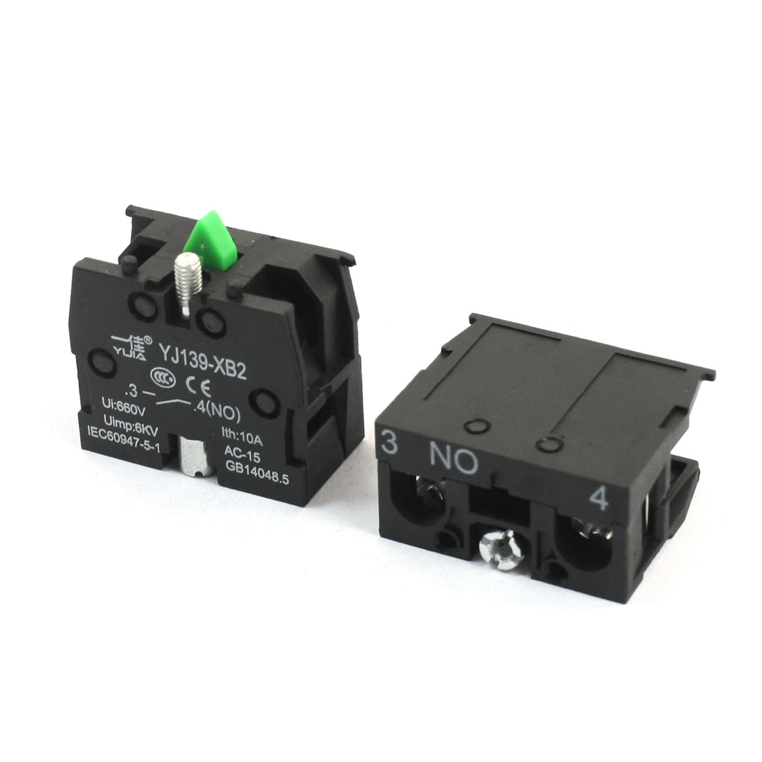 2Pcs 600V 10A SPST NO Normal Open Momentary 2 Screw Terminal Spring Load Push Button Switch Auxiliary Contact Black