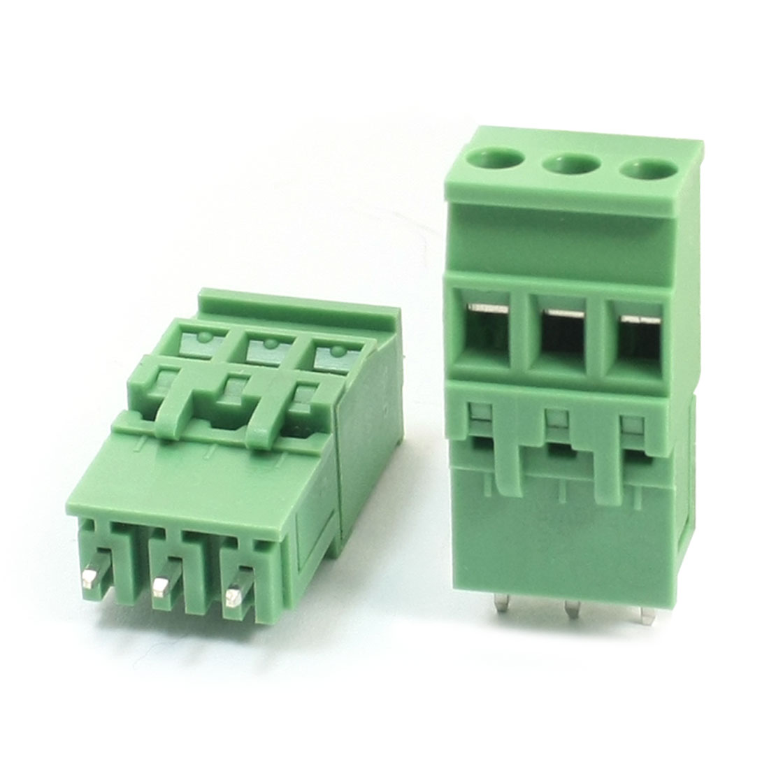 2 Pcs 5.08mm Pitch Through Hole Mount Pluggable Green PCB Screw Terminal Barrier Block Connector For 14-26AWG Wire