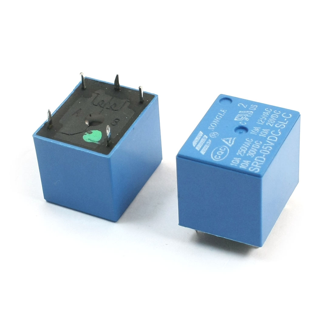 SRD-05VDC-SL-C DC5V SPDT 1NO 1NC 5 Pins PCB Type Plug in Mount General Purpose Electromagnetic Coil Power Relay Blue 2Pcs