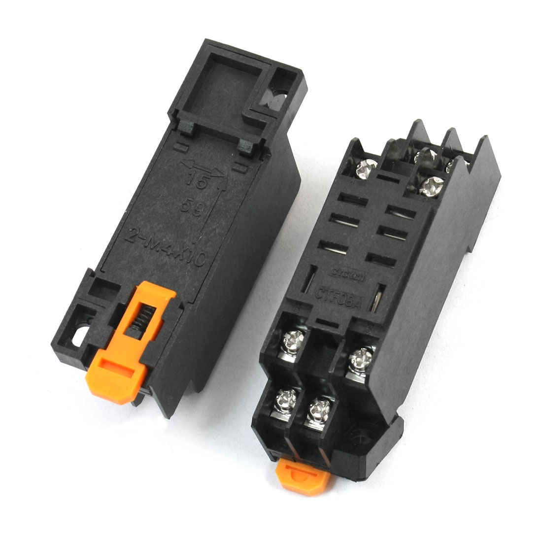 2Pcs 35mm DIN Rail Mounting 8 Screw Terminals 8Pin Black Plastic Power Relay Socket Base PTF08A for HH62P LY2NJ