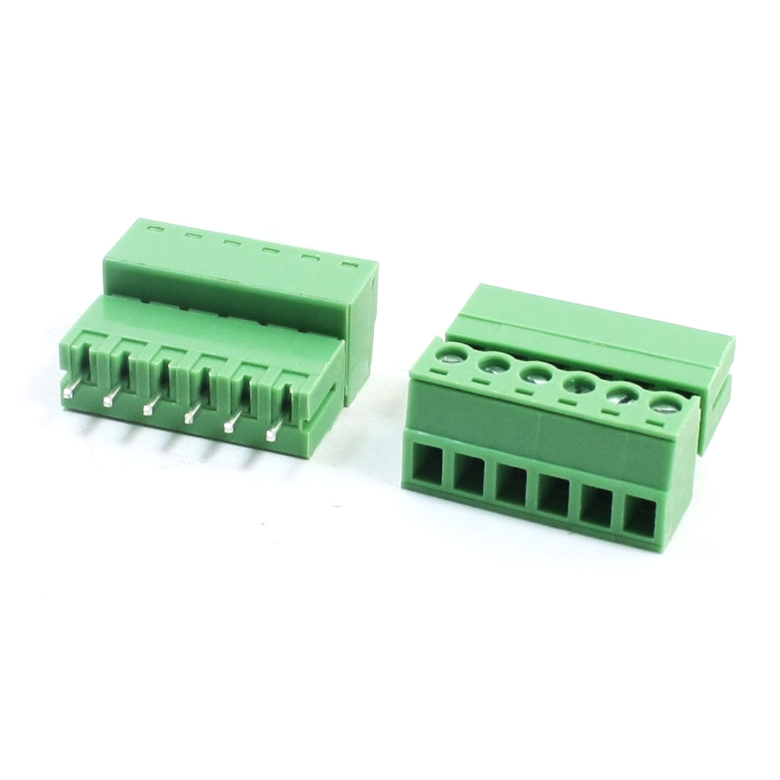 2Pcs 300V 3A 3.81mm Pitch 6-Pin Through Hole Pluggable Type PCB Screw Terminal Barrier Block Connector for 22-16AWG Wire