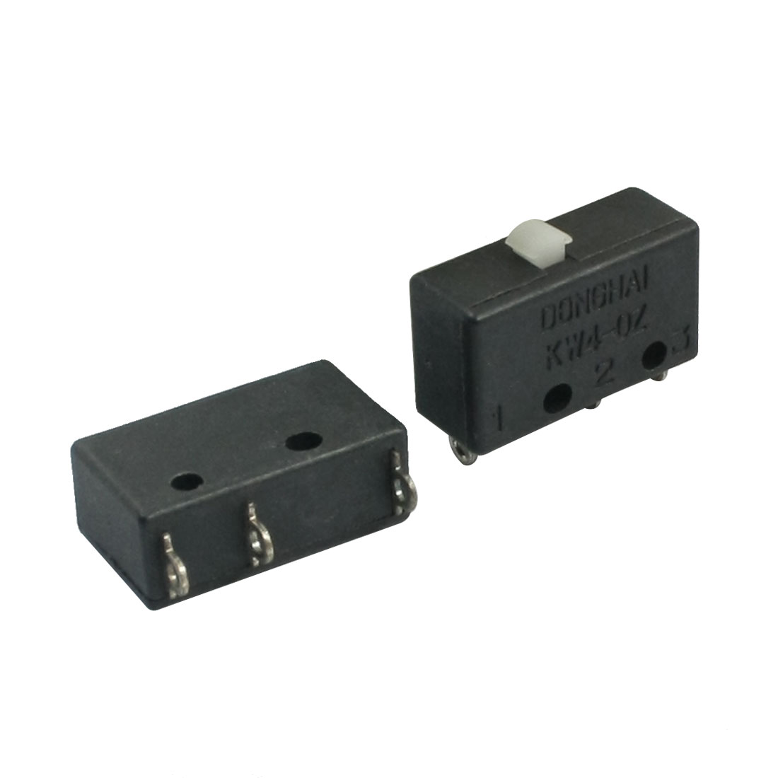 2 Pcs AC125V 3A SPDT 1NO 1NC 3-Pin Memontary Action Black Rectangle Pushbutton Micro Limit Switch