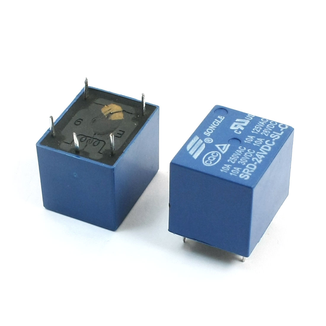 2 Pcs SRD-24VDC-SL-C DC 24V Coil Voltage SPDT 1NO 1NC 5 Pins Plug in Mount Blue Plastic General Purpose Power Relay