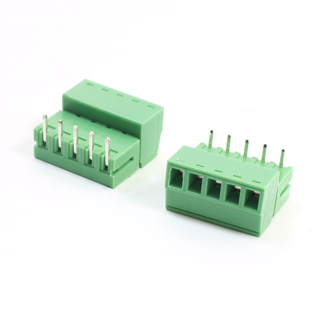 2 Pcs 2EDG 300V 6A 3.81mm Pitch 22-16AWG 5Pin Pluggable Type Through Hole Mount PCB Right Angle Screw Terminal Block Connector