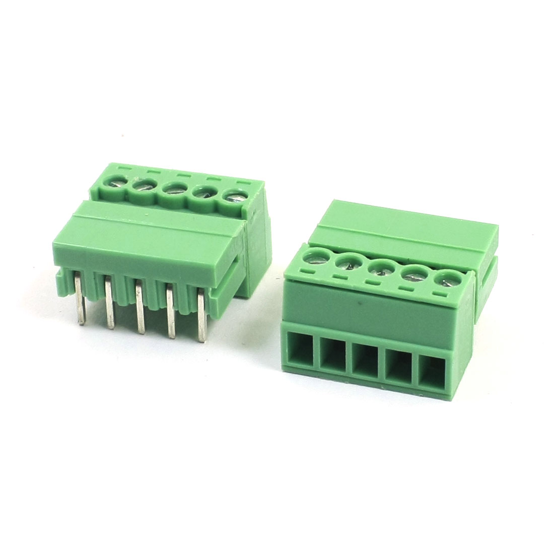 2Pcs AC300V 8A 3.5mm Pitch 5Pin Through Hole Pluggable Type PCB Screw Terminal Barrier Block Connector for 22-16AWG Wire