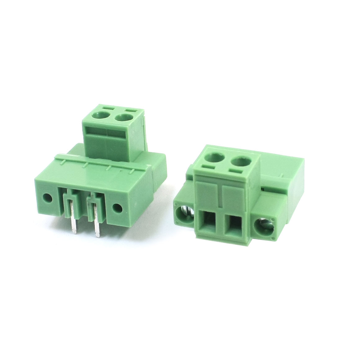 2Pcs AC 300V 5.08mm Spacing Right Angled Pluggable Type Through Hole PCB Terminal Barrier Block Connector Green
