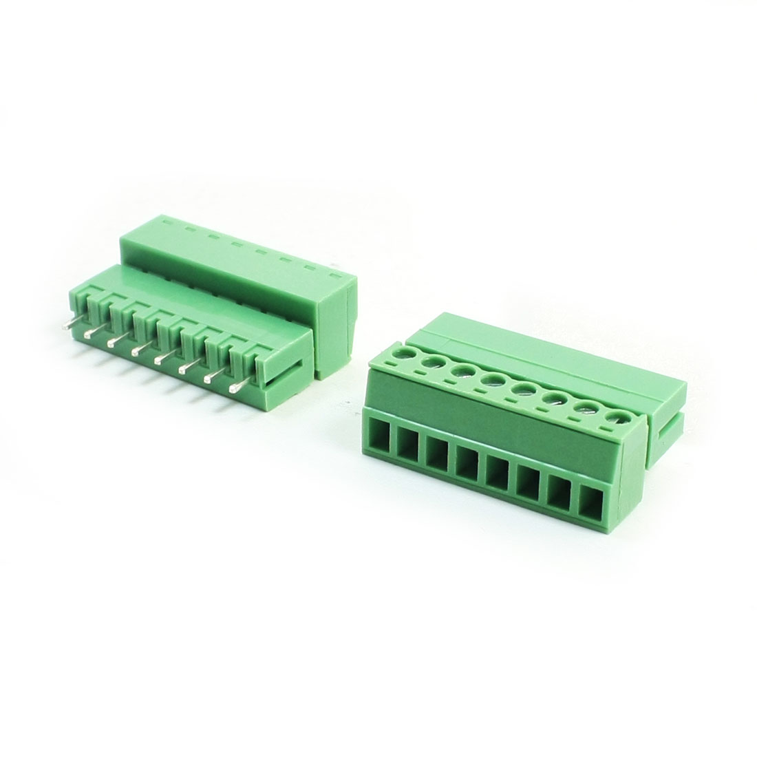 2Pcs AC300V 8A 3.81mm Pitch 8Pin Through Hole Pluggable Type PCB Screw Terminal Barrier Block Connector for 22-16AWG Wire