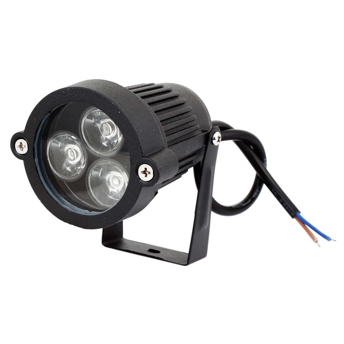Landscape Garden Outdoor Black Aluminum Housing 6W 3-LED Blue Light Ground Spike Spotlight 300-330LM 12V