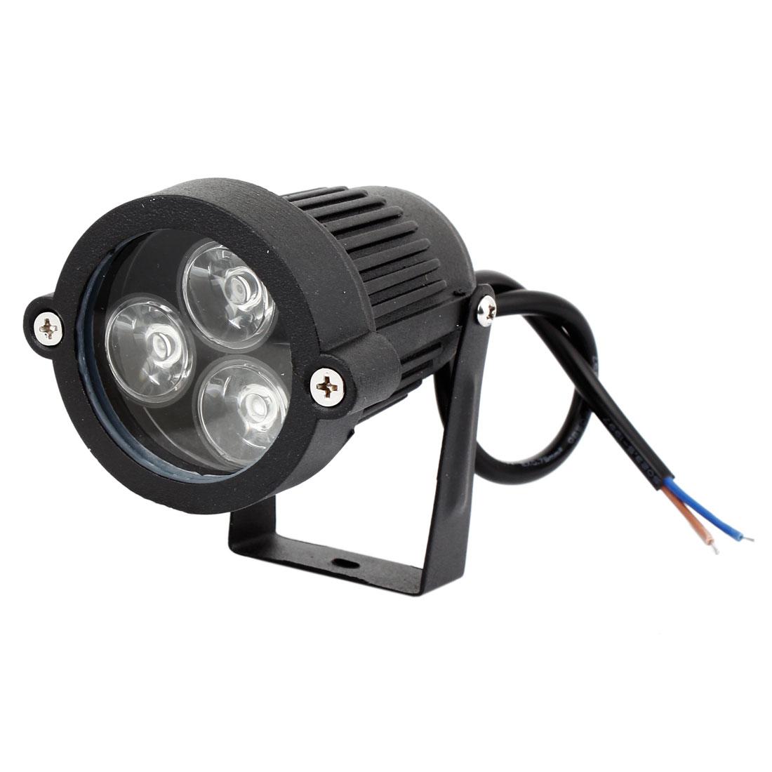 Landscape Garden Outdoor Black Aluminum Housing 6W 3-LED Blue Light Ground Spike Spotlight 300-330LM 12V