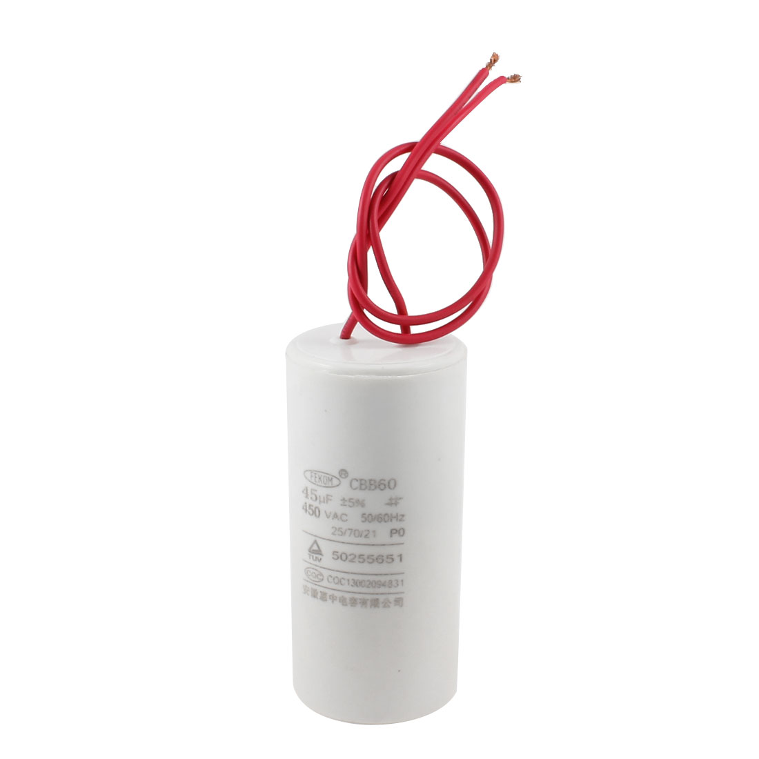 CBB60 AC 450V 45uF Cylindrical Non Polar Motor Capacitor White w 2 Wires