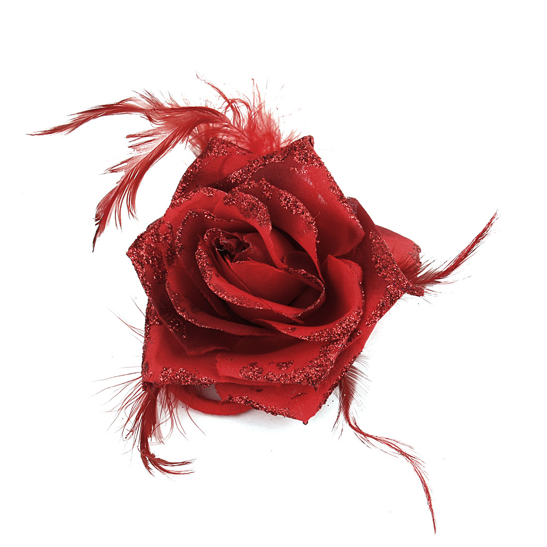 Lady Woman Flower Feather Accent Elastic Hair Band Corsage Red