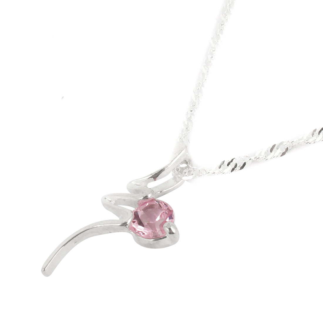 Woman Pink Silver Tone Plastic Crystal Accent Chain Pendant Necklace