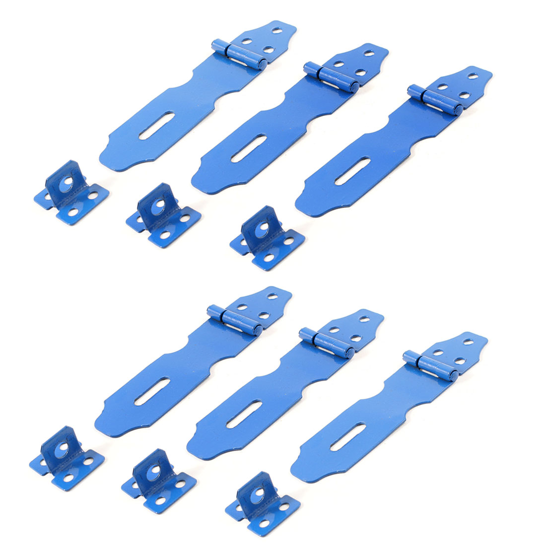 Blue Metal Cabinet Cupboard Gates Padlock Latch Door Hasp Staple 6 Sets