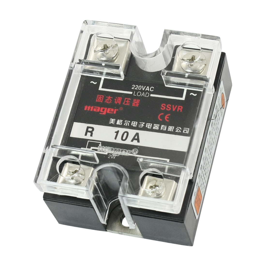 SSVR 220V 10A Slide Resistor to AC Solid State Module Relay w Clear Cover