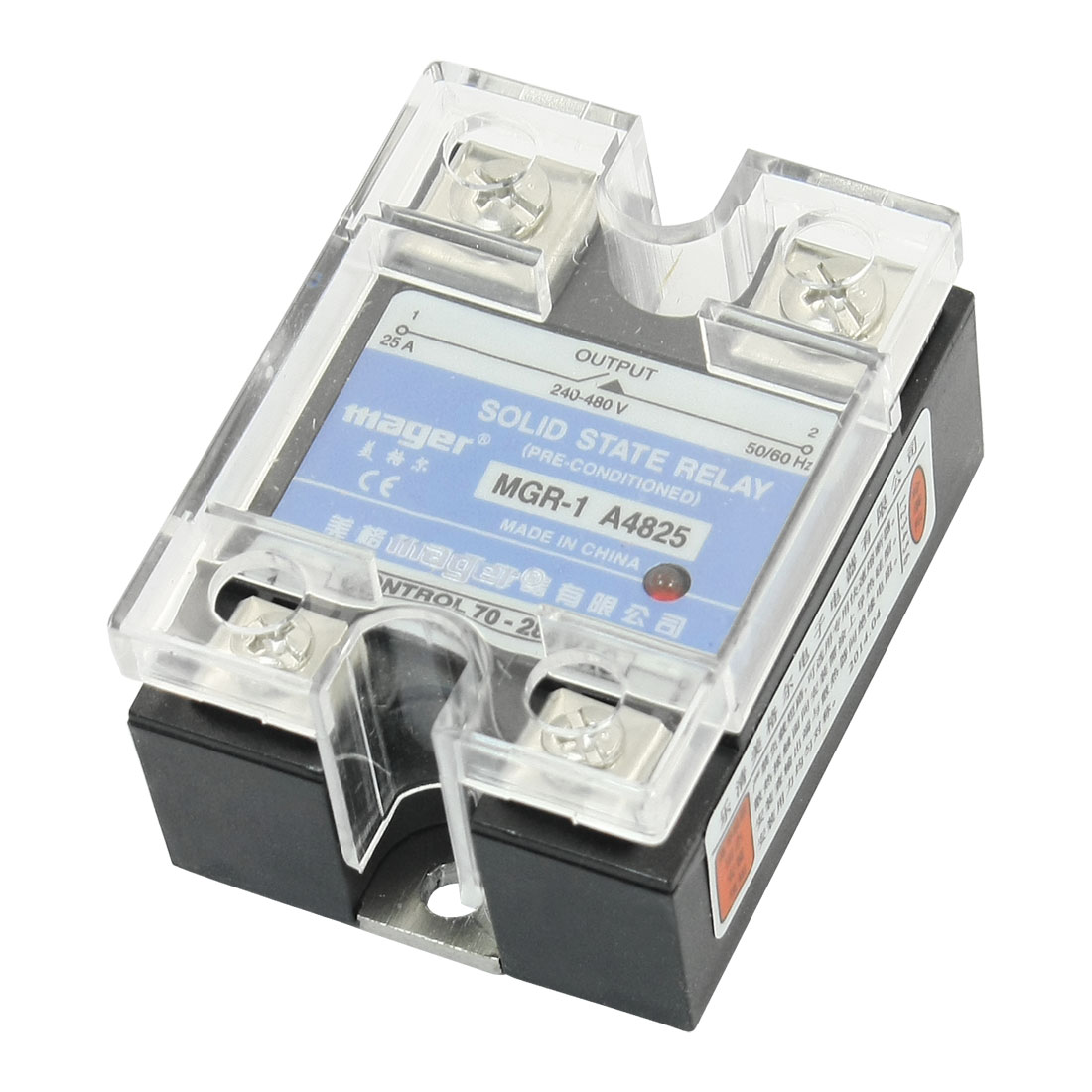MGR-1 A4825 240-480V 25A AC to AC Solid State Module Relay w Clear Cover