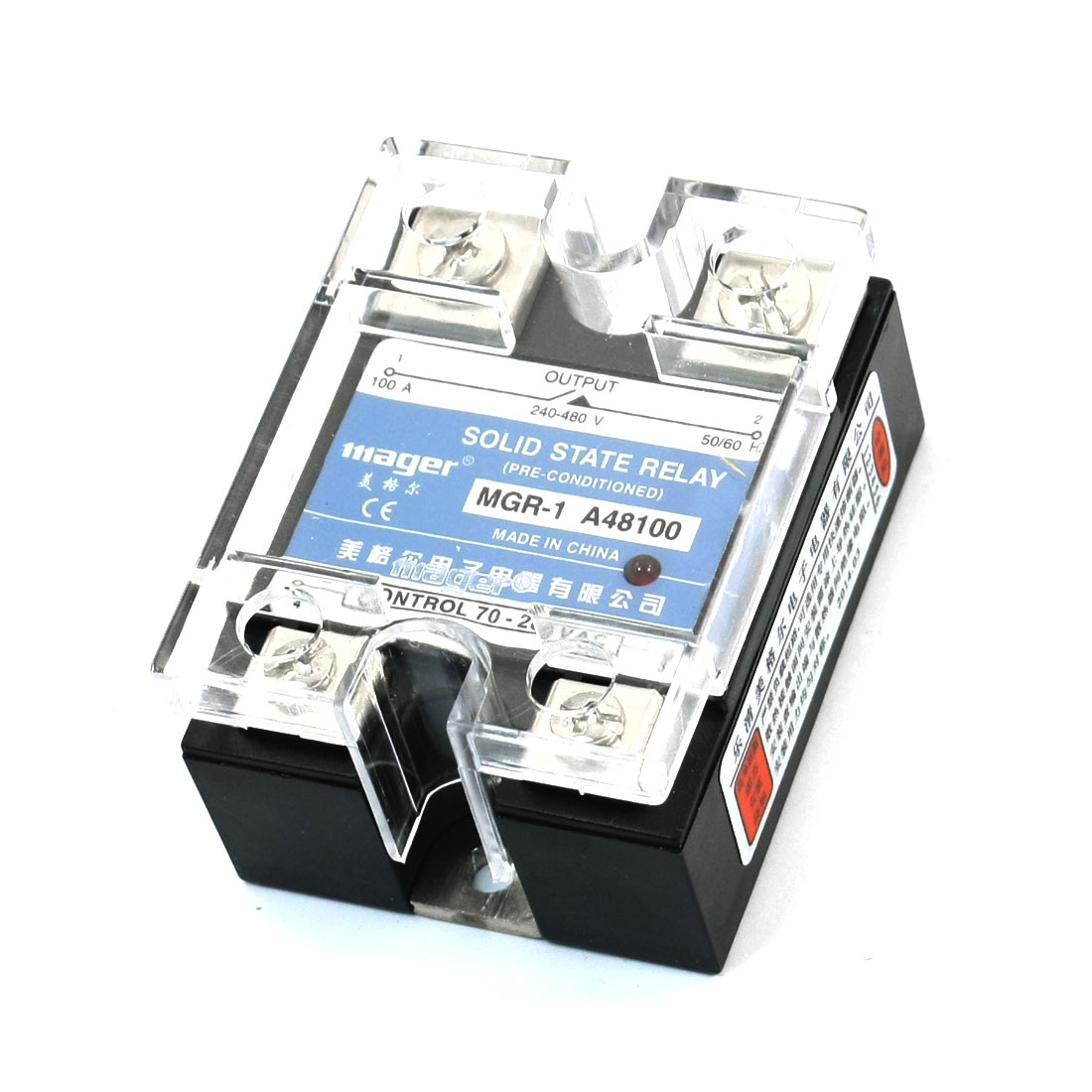 AC 24-480V 100A Single Phase AC Control AC Solid State Relay MGR-1 A48100