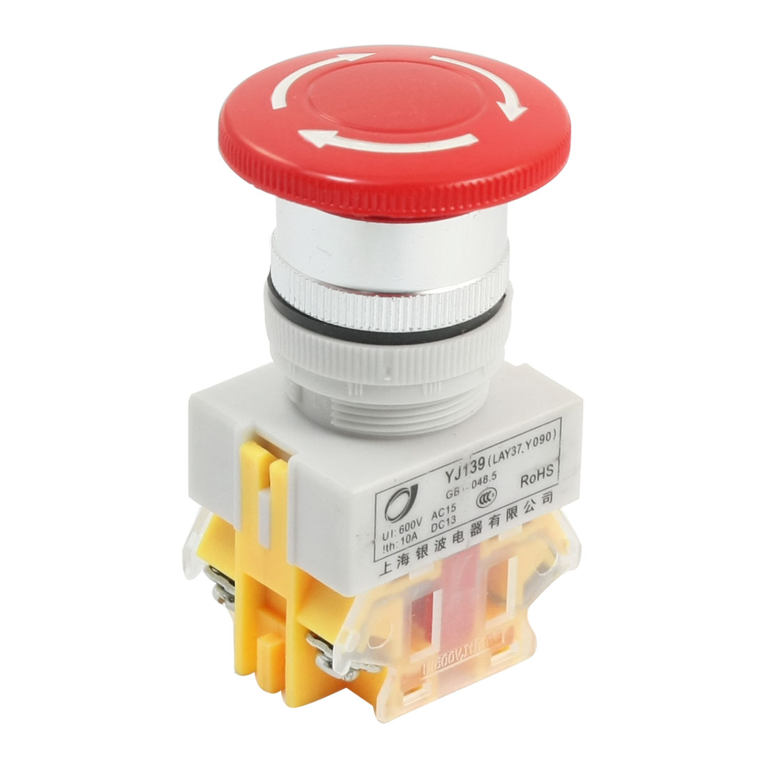 600V 10A NO NC Emergency Stop Latching Red Mushroom Push Button Switch