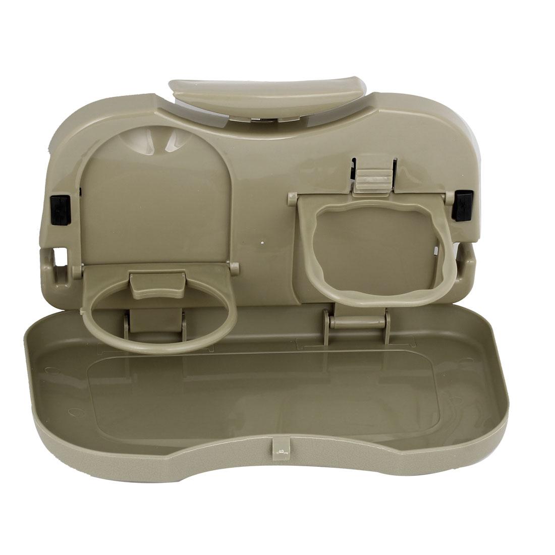 Universal Car Back Seat Headrest Beverage Desk Drink Cup Bottle Holder Brown