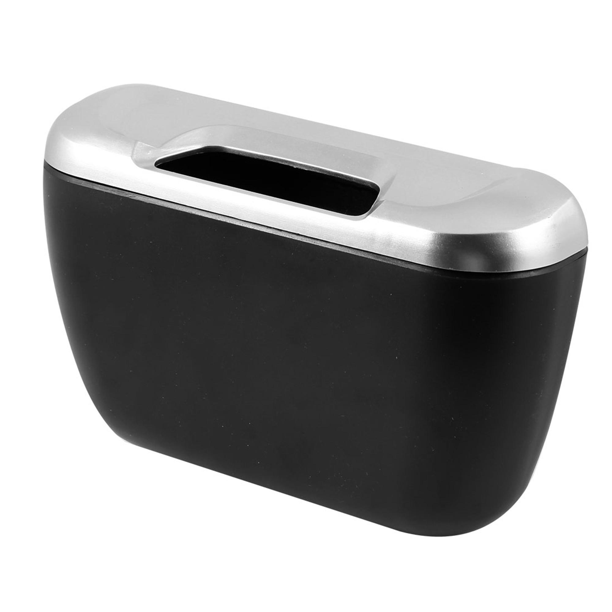 Mini Auto Car Trash Rubbish Can Garbage Dust Case Holder Box Bin Black Silver Tone