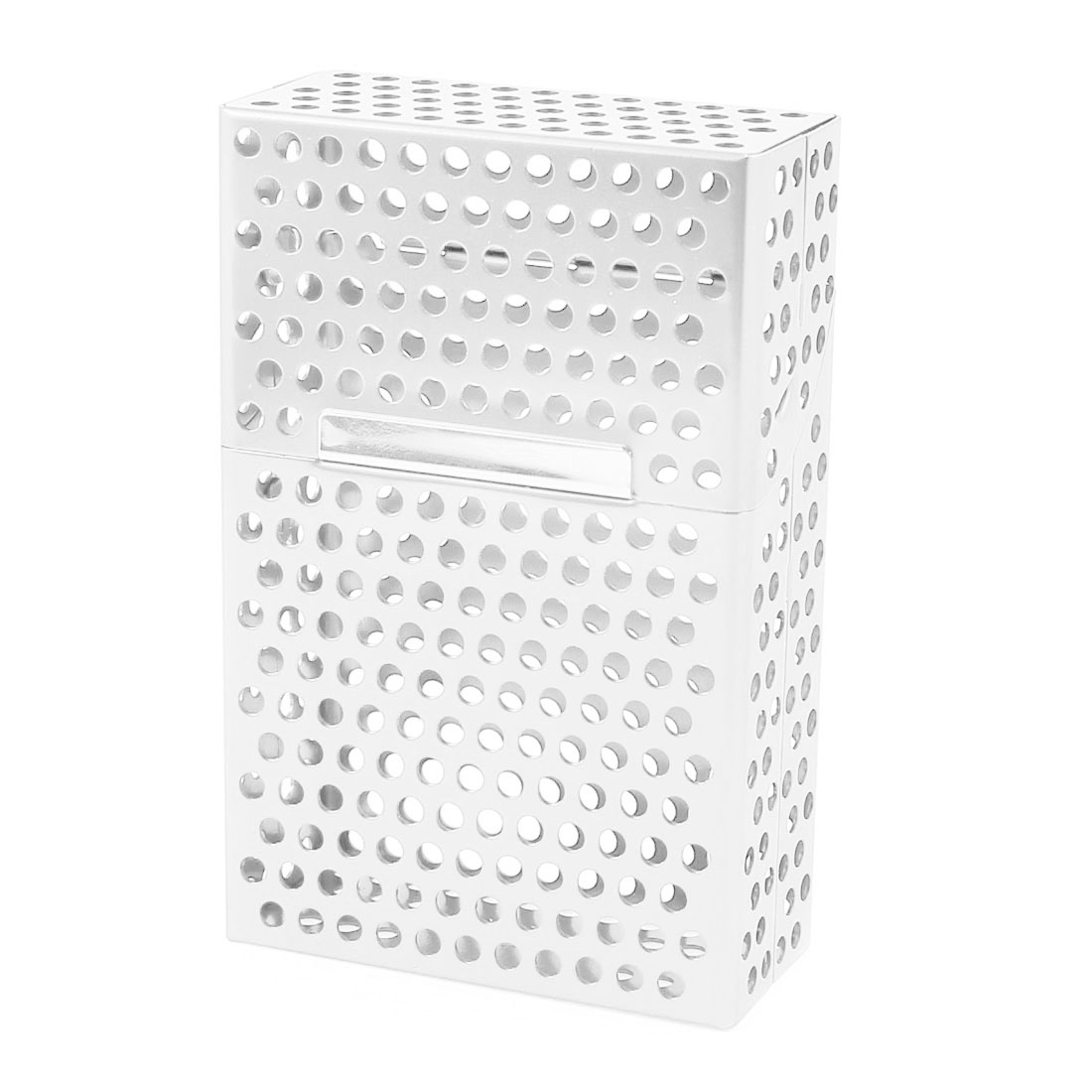 Silver Tone Magnet Perforated Rectangle Shape Aluminum Full Pack 20 Pieces Cigarette Case Holder
