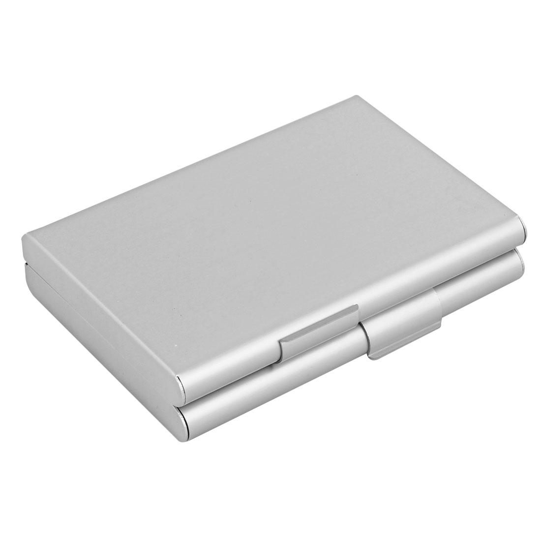 Silver Tone Aluminum 2 Compartments Cigarette Cigar Case Box Holder