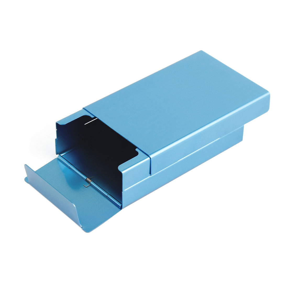 Slide Type Blue Aluminum Rectangle Shape Cigarette Cigar Case Box
