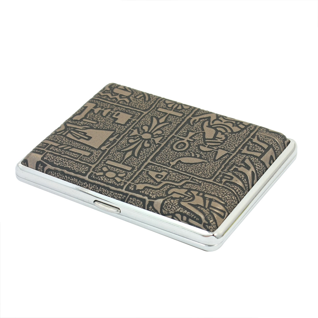 Bronze Tone Egyptian Pattern Faux Leather Coated Two Sides Hinge Closure Metal Case Box Holder Container for 16pcs Cigarette