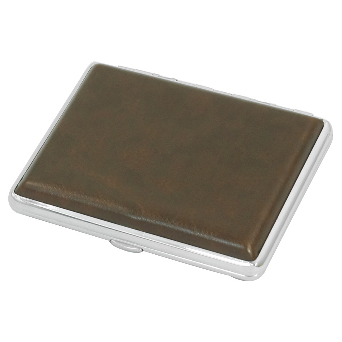 Brown Faux Leather Coated Two Sides Hinge Closure Metallic Case Box Holder Container for 16pcs Cigarette