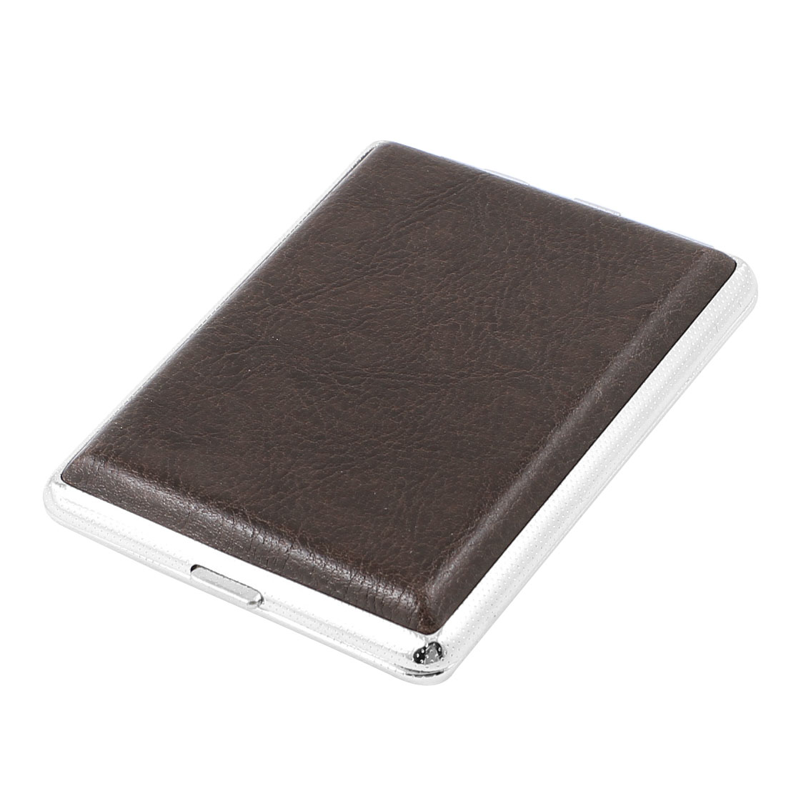 9cm x7cm Two Sides Crocodile Pattern Faux Leather 16 Cigarettes Box Case Storage Chocolate Color
