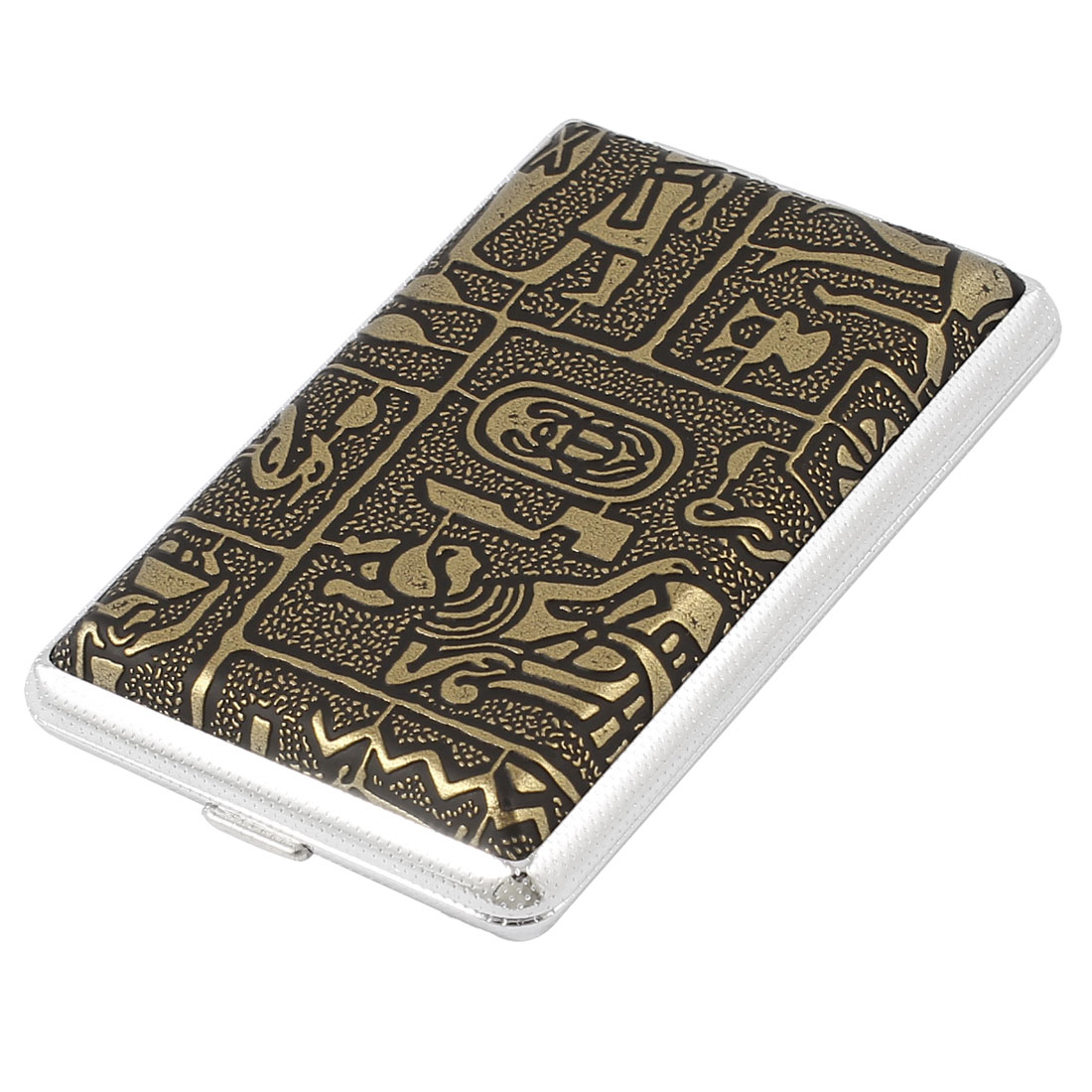 Bronze Tone Ancient People Pattern Hinge Closure Rectangle Cigarette Case Holder