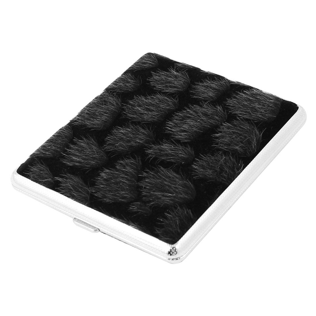 Black Aluminum Rectangular 10cm x 8cm x 1.8cm Full Pack 18 Pieces Cigarette Case Holder