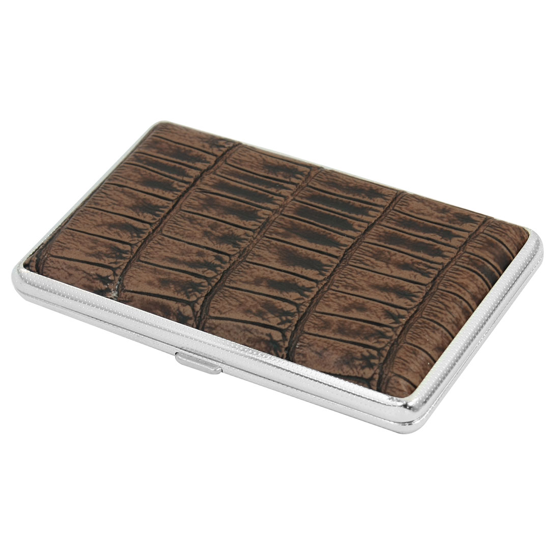 Chocolate Color Rectangular Crocodile Print Faux Leather Coated Two Sides Hinge Closure Metal Case Box Holder Container for 14pcs Cigarette