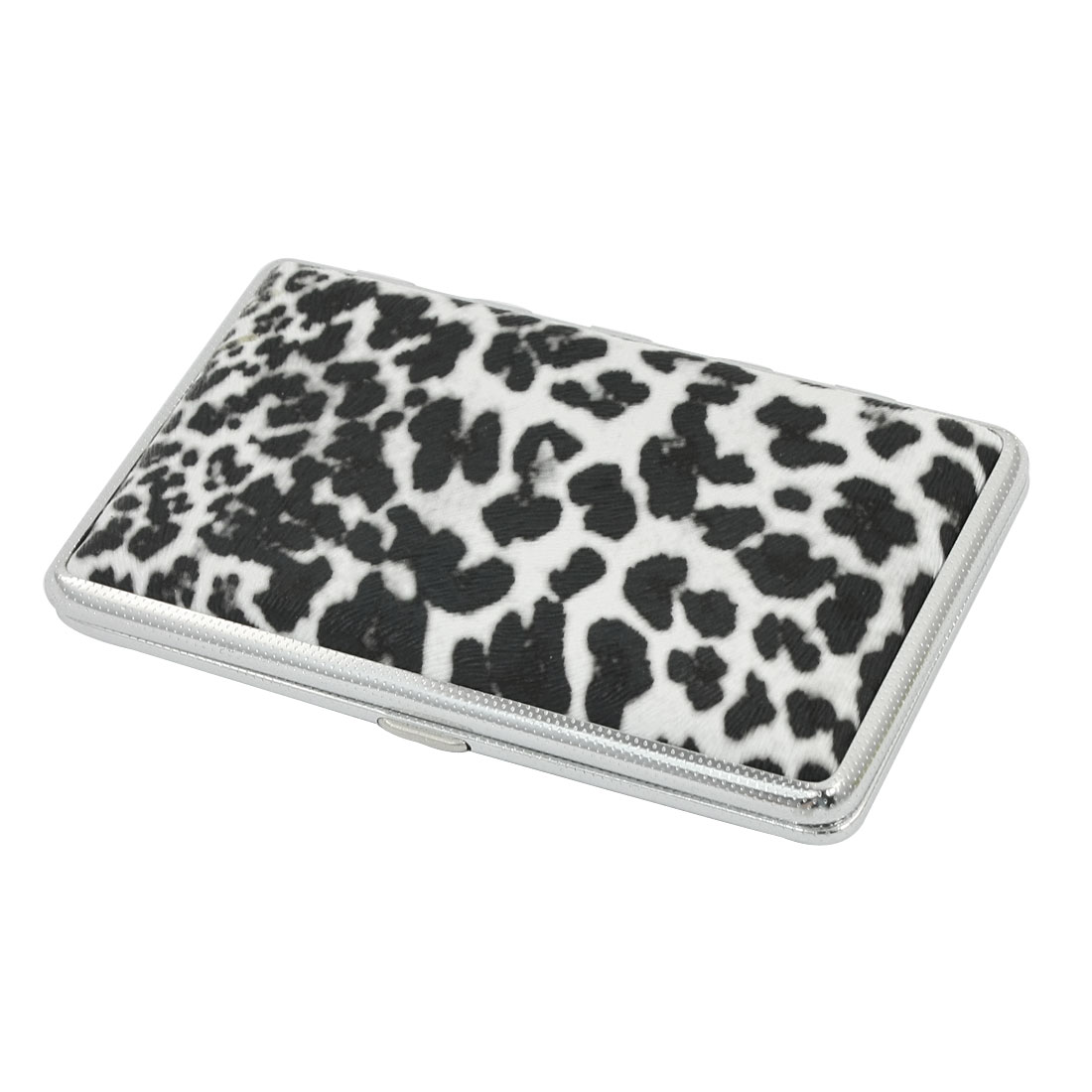 Black White Leopard Pattern Rectangle Shape Faux Leather Two Sides Hinge Closure Metal Case Box Holder Container for 14pcs Cigarette