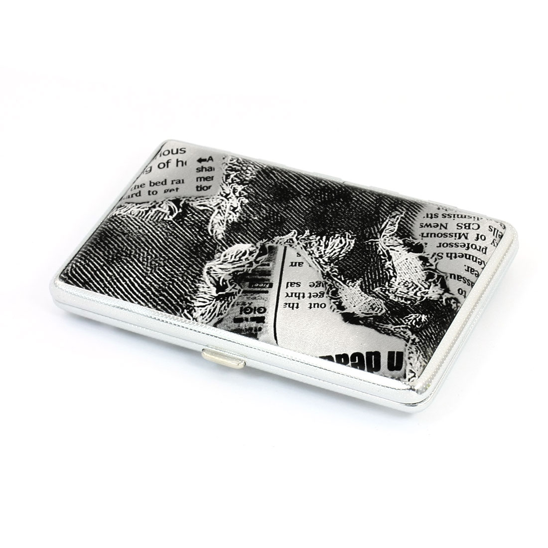 Black White Rectangular Jeans Pattern Faux Leather Coated Two Sides Hinge Closure Metal Case Box Holder Container for 14pcs Cigarette