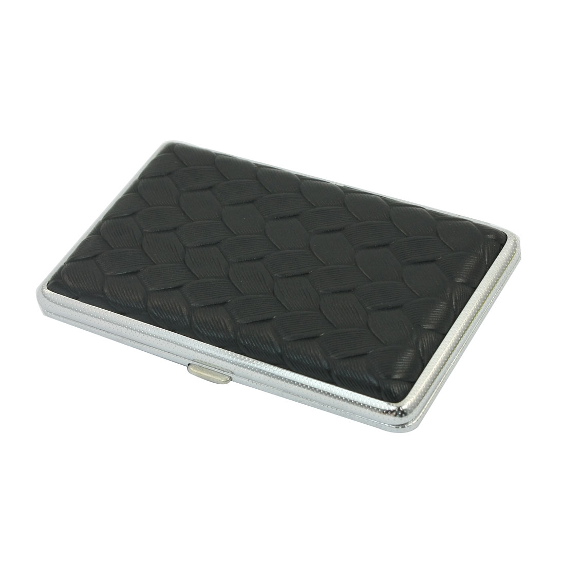 Black Rectangle Shape Woven Pattern Faux Leather Coated Two Sides Hinge Closure Metal Case Box Holder Container for 14pcs Cigarette