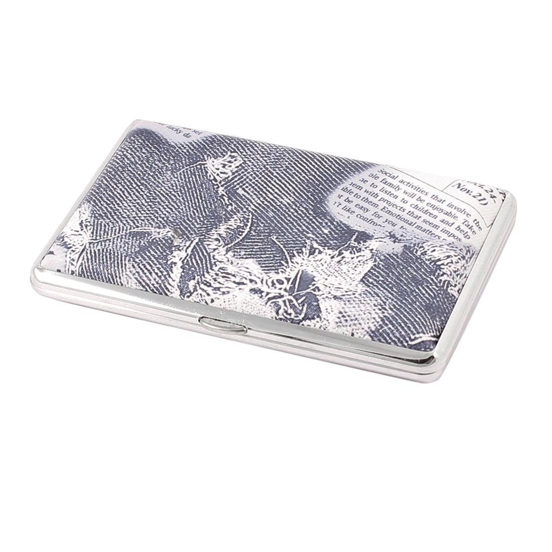 Man White Steel Gray Letter Pattern Double Sides Cigarette Case Box Holder