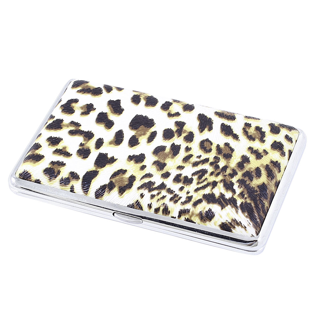 Rectangle Leopard Printed Hinge Closure Cigarette Case Box White Brown
