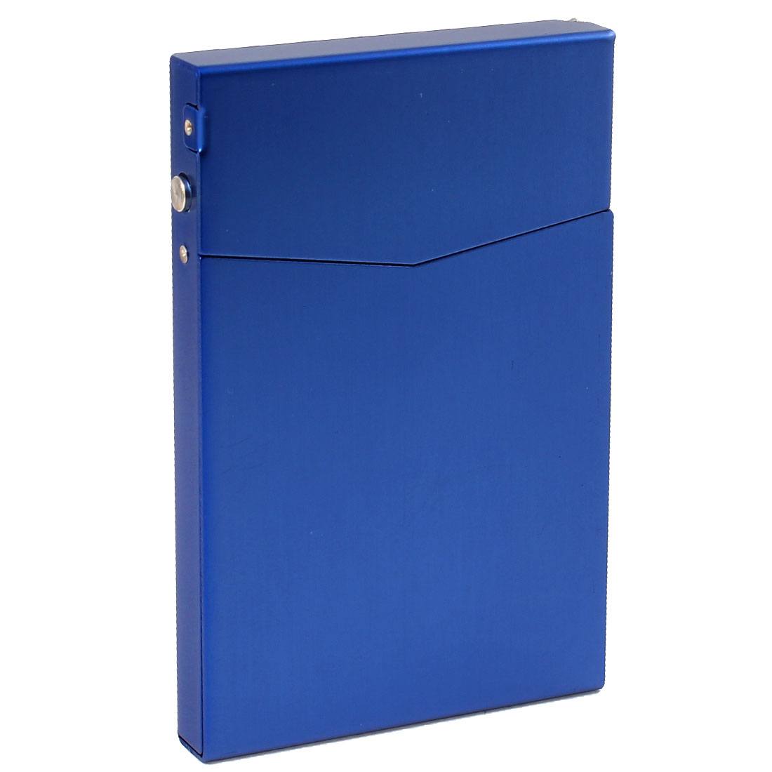 Blue Aluminum Rectangle Design Full Pack 7 Pcs Cigarette Case Box Holder 90mmx60mmx10mm