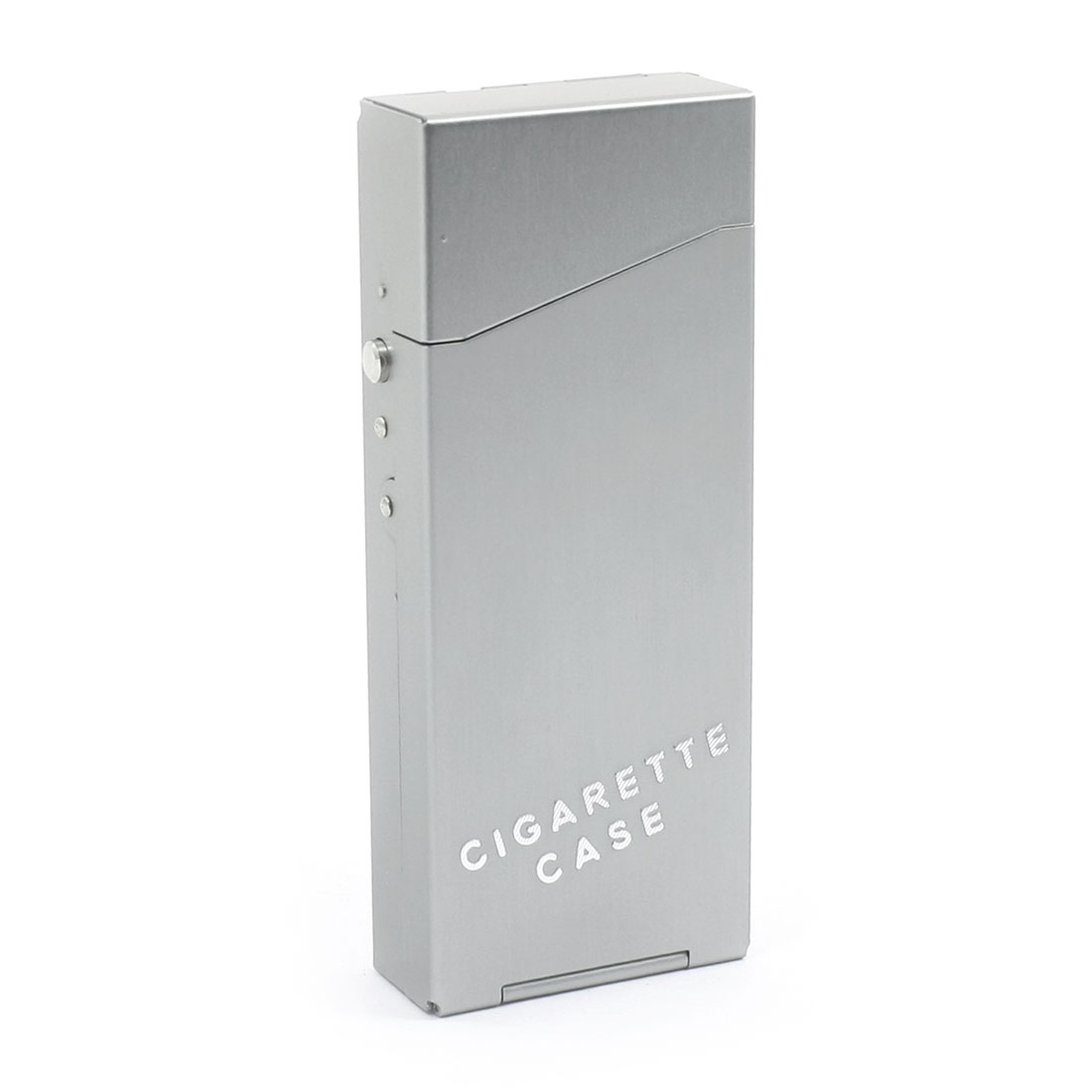 Gray Metal Rectangular 10.8cm x 4.3cm x 1.8cm Spring Loaded Flip Open Hinge Case Box Container Holder for 20pcs Cigarettes