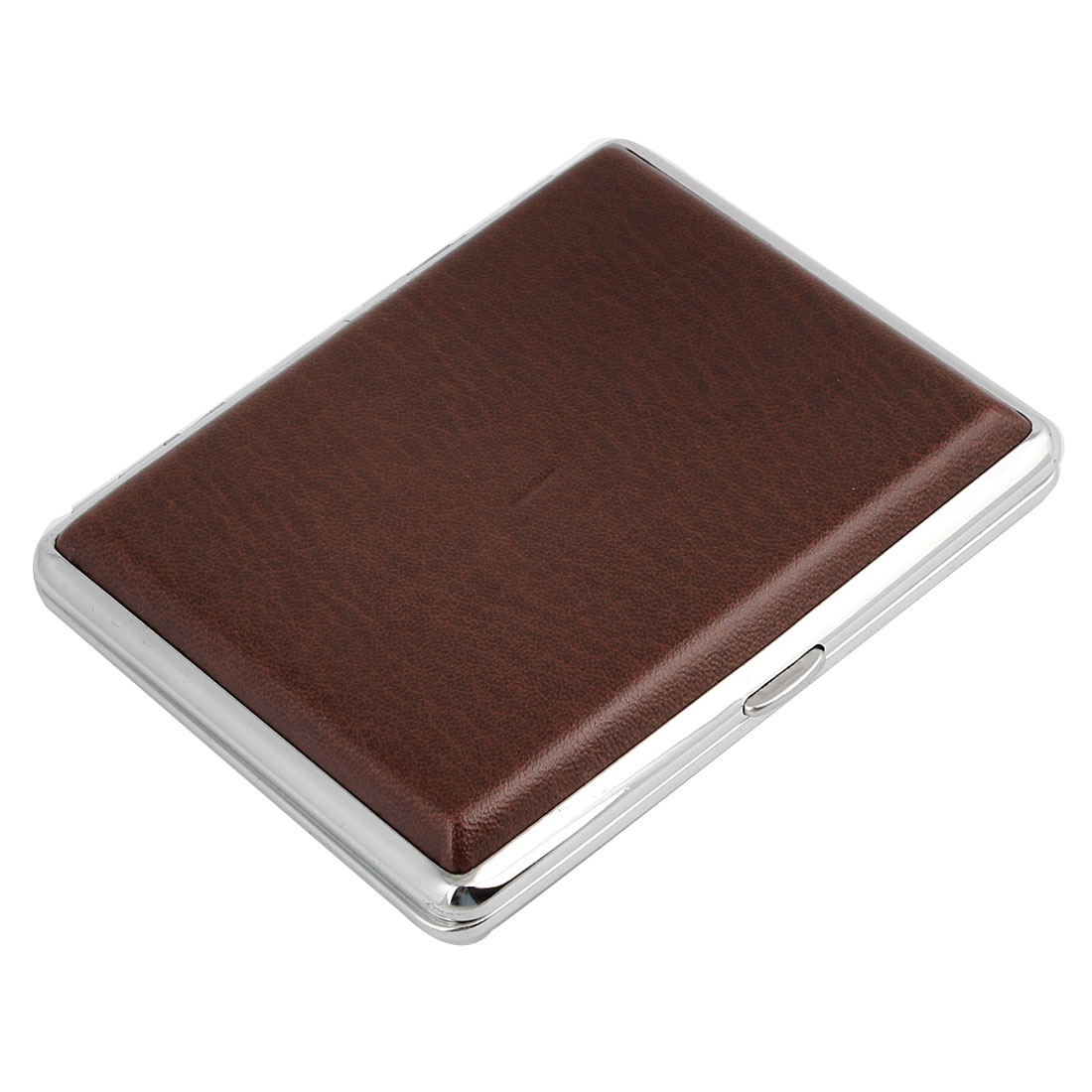 Faux Leather Brown Rectangle Shape Cigarette Cigar Case Box Holder