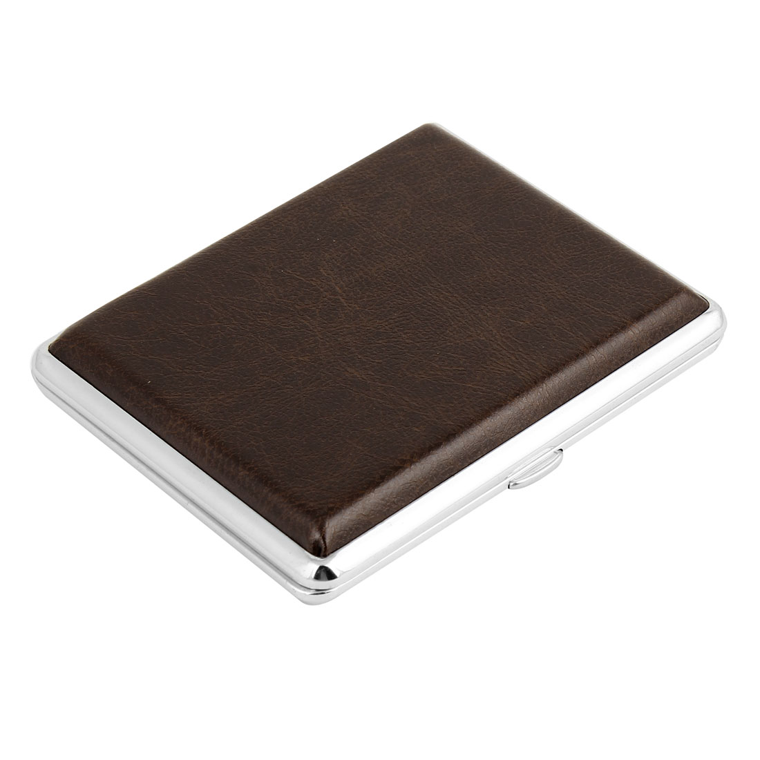 Brown Faux Leather Square Shape 18 Cigarette Capacity Case Box Holder