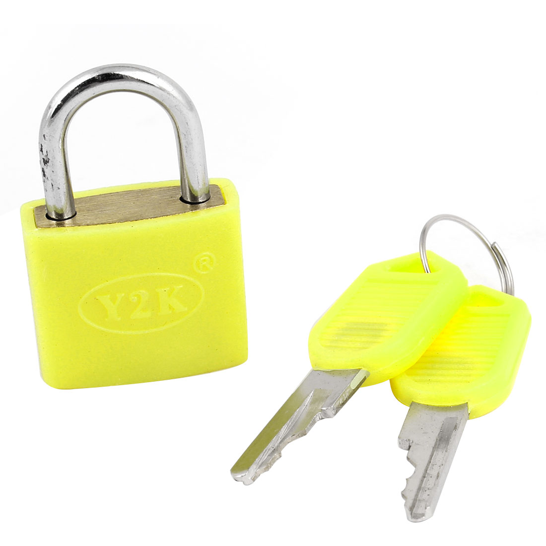 Cabinet Luggage Security Yellow Metal Lock Padlock 23mm Width w 2 Keys