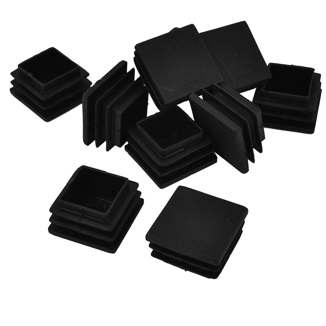 30mm x 30mm Black Hard Plastic Tubing Tube Insert Blanking End Caps 10Pcs