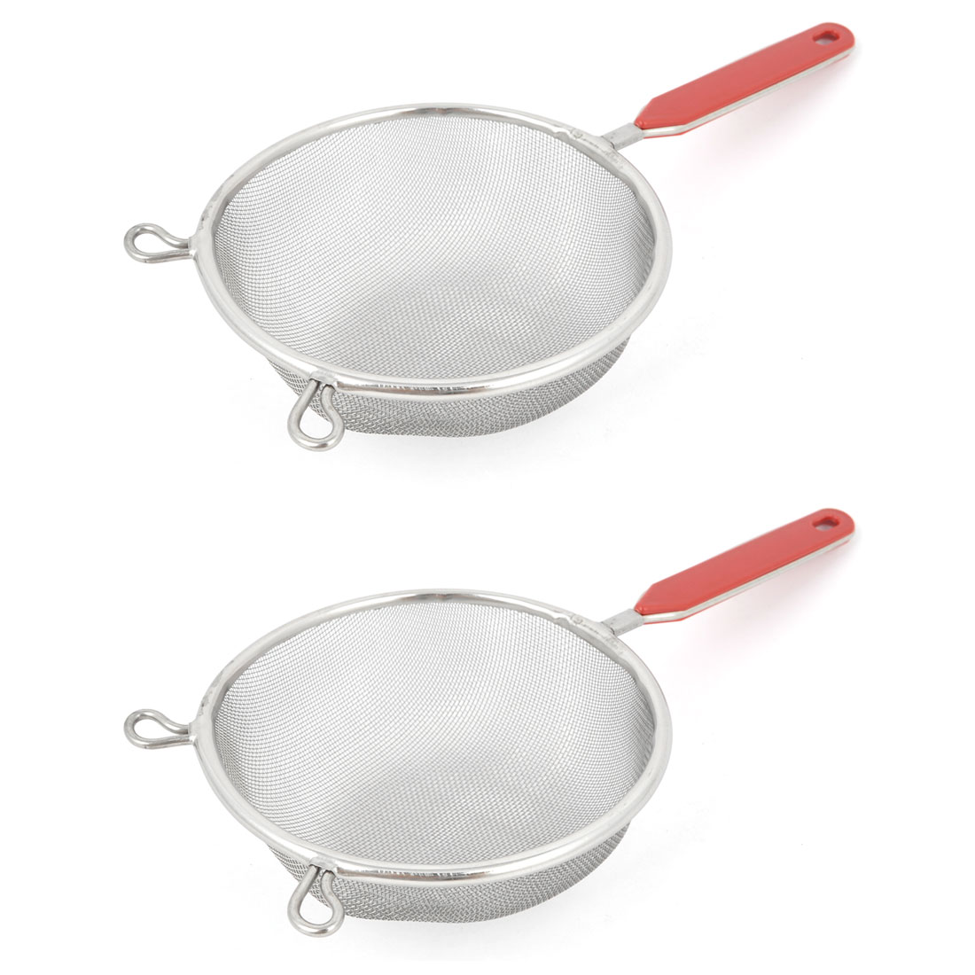 "2pcs Household Plastic 3.9"" Long Handle Stainless Steel Wire Screen Mesh Ladle"