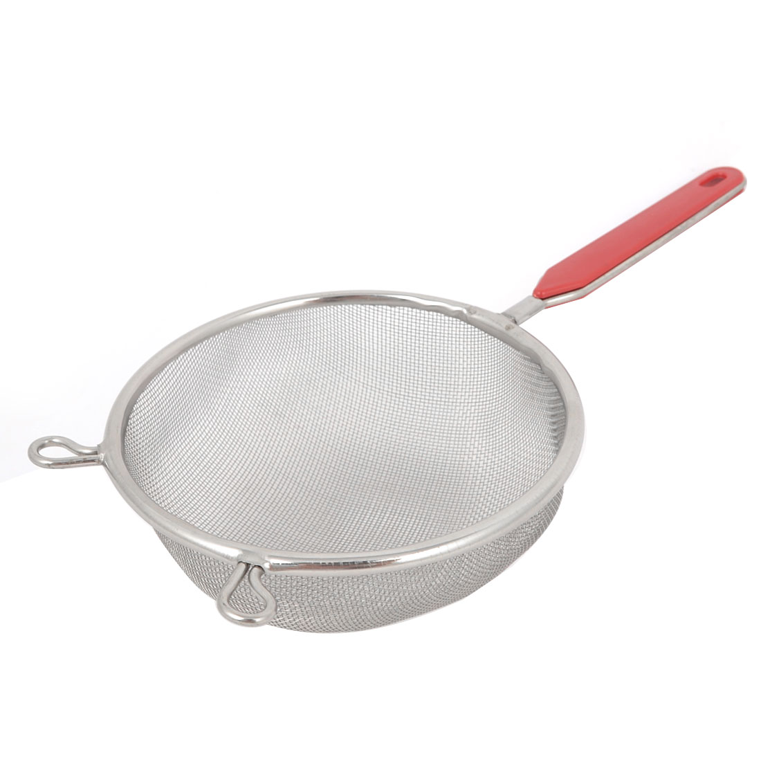 Plastic Coated Grip Stainless Steel Silver Tone 10cm Dia Mesh Ladle Strainer