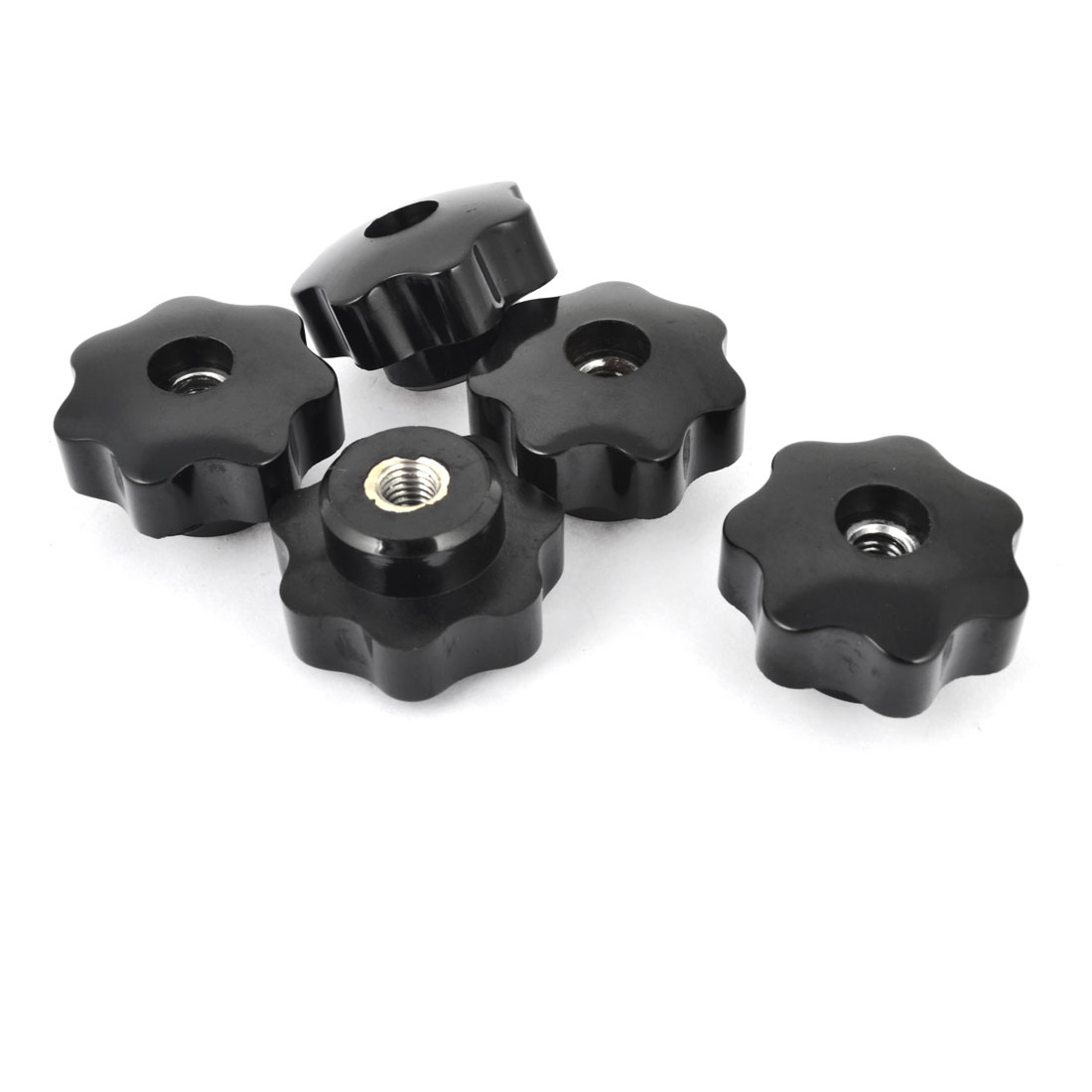 40mm Dia Head 8mm Diameter Female Thread Through Clamping Star Knob 5Pcs