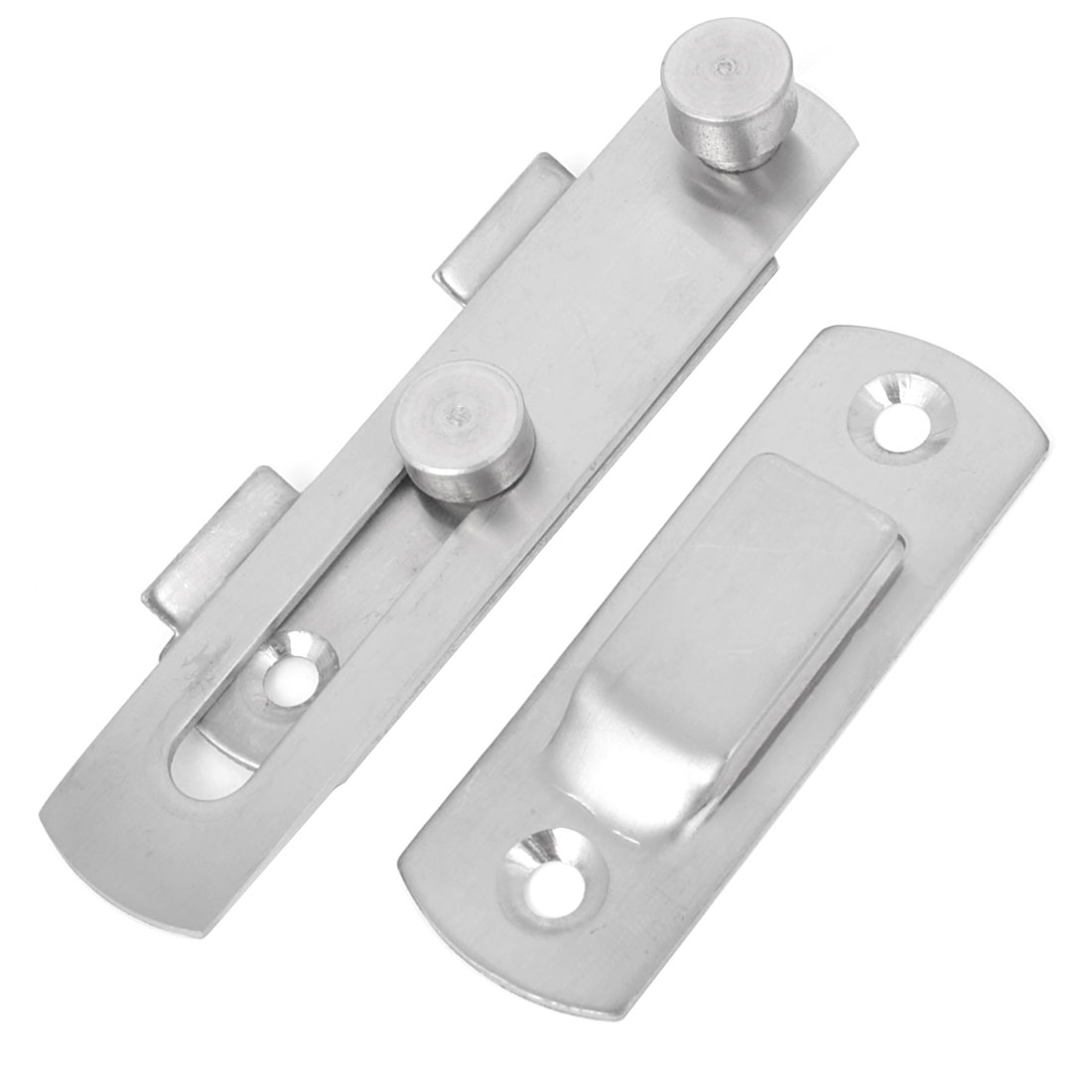 Office Silver Tone Stainless Steel Door Latch Catch Bolt Guard Set