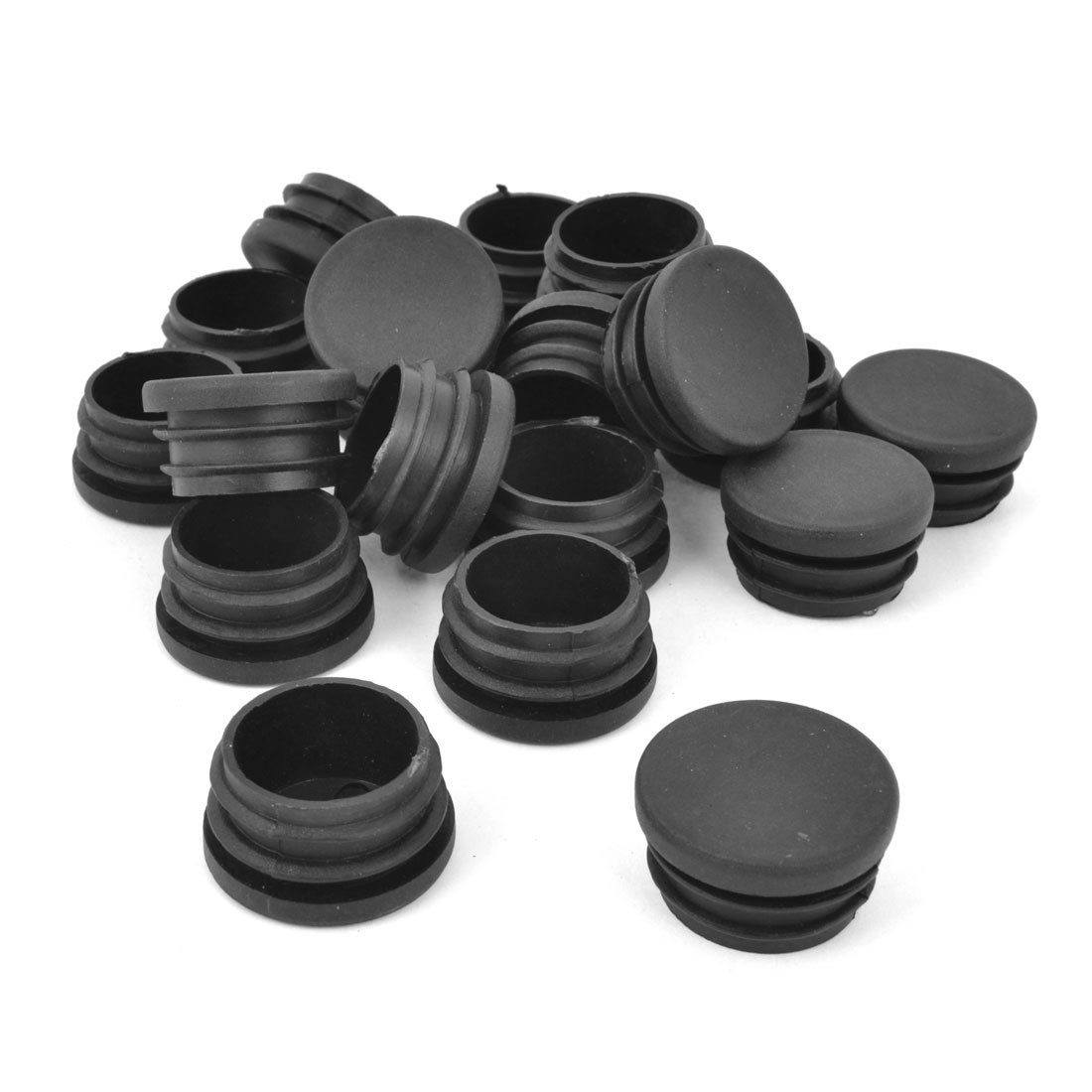 32mm Plastic Furniture Round Tube Inserts End Blanking Caps Black 20Pcs