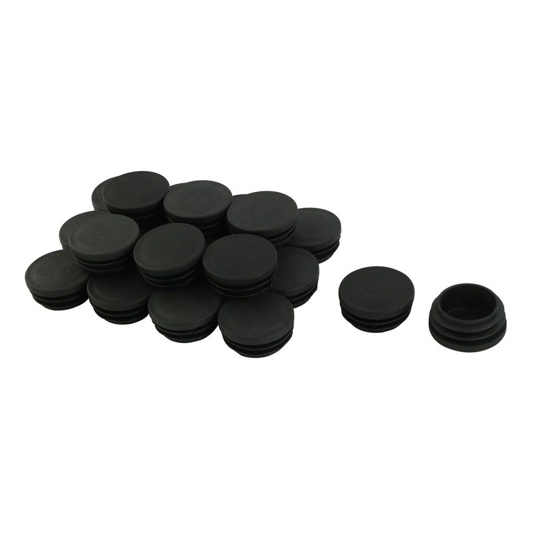 38mm Black Hard Plastic Round Tubing Tube Insert Blanking End Caps 20Pcs