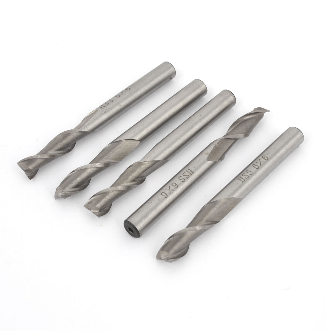 6mm Cutting Dia 6mm Shank 2 Flutes HSS End Mill Milling Cutter Tool 5Pcs
